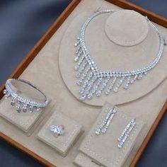 Luxury Long Tassel Drop Saudi Arabia Silver Jewelry Sets For Women Wedding Zircon Crystal. - Luxury Long Tassel Drop Saudi Arabia Silver Jewelry Sets For Women Wedding Zircon Crystal CZ In - Pearl Bridal Jewelry Sets, Wedding Jewelry Sets, Women's Jewelry Sets, Diamond Jewelry, Silver Jewelry, Silver Ring, Silver Earrings, Indian Jewelry, Luxury Jewelry