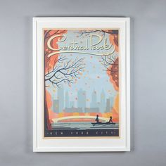 New York Central Park Autumn Retro Travel Print. A vintage-inspired travel print of New York's Central Park set in Autumn. Looks great alongside one or two other cities from our collection. Perfect for remembering your travels!