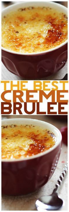 this recipe is seriously SO simple and is THE BEST Creme Brûlée according to the op. I loved trying creme brulee in France so I'll have to try making it on my own. Köstliche Desserts, Delicious Desserts, Dessert Recipes, Yummy Food, Custard Desserts, Pudding Desserts, Lunch Recipes, How Sweet Eats, Love Food