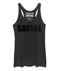 Look at this #zulilyfind! Heather Black 'Savage' Raw-Edge Flowy Tank #zulilyfinds