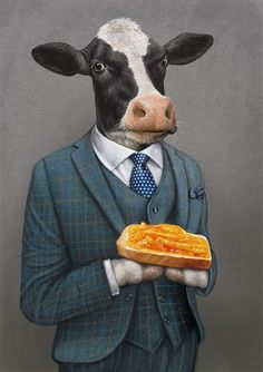 How illustrator Bob Venables produced a quintessentially English look for chef Heston Blumenthal's delectable food range and its packaging. Cow Illustration, Cow Painting, Cow Art, Animal Sketches, Animal Heads, Weird Art, Surreal Art, Animal Paintings, Pet Portraits