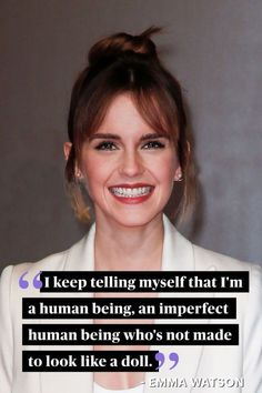 Even the most gorgeous celebs have insecurities, too. These Seventeen cover stars share their empowering quotes about loving yourself no matter what! (Hair And Beauty Quotes) Emma Watson Frases, Emma Watson Quotes, Girl Quotes, Woman Quotes, Love Quotes, Lyric Quotes, Ispirational Quotes, Acting Quotes, Sun Quotes