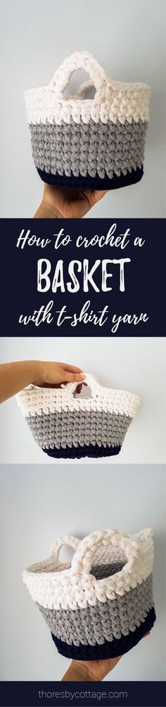 FREE crochet basket pattern using t-shirt yarn. Great for storing kids toys as you can simply pop it in the wash when it get grubby. Pattern by Thoresby Cottage