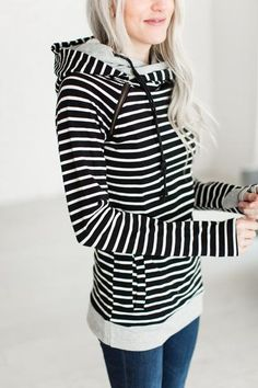 Double Hooded Sweatshirt - Black Stripe - Mindy Mae's Market