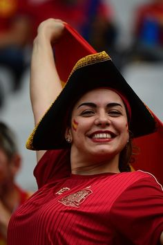 #EURO2016 A Spain supporter poses ahead the Euro 2016 round of 16 football match between Italy and Spain at the Stade de France stadium in SaintDenis near...