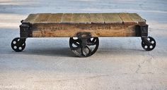 Cash desk details/inspiration -Industrial Cart Coffee Table (Wheels, yes!)   #toniclivingdreamroom #homedecor