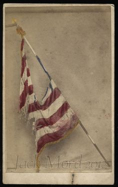 Rare Photo of Tattered Civil War FLAG
