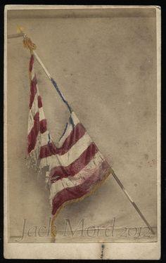 Rare Photo of Tattered Civil War FLAG