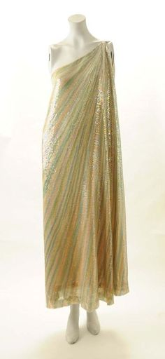 "Halston ""Ice Cream Dress"". Hand painted, sequined silk chiffon. 1970s."