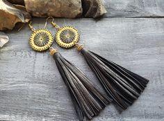 Tassel earrings. Leather earrings. Leather tassel earrings. Black tassel earrings. Long tassel earrings. Boho earrings. Bohemian earrings.