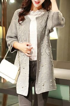 Graceful Scoop Neck 3/4 Sleeve Hollow Out Thin Beaded Cardigan For Women