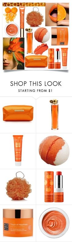 """Orange Beauty"" by hanisi ❤ liked on Polyvore featuring beauty, Melissa Odabash, Givenchy, Hampton Sun, Sephora Collection, Rituals, 3ina and Clarins"