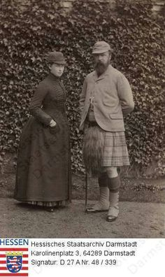Irene and her father Louis IV, Grand Duke of Hesse,  Balmoral, 1898
