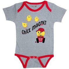 "Case IH Chick Magnet Onesie Dad will love to show off his little chick magnet in this onesie. Cute little chickadees dancing around a red hat wearing chick driving a Farmall. Baby will be comfortable with the expandable neck and tagless back. This heather grey onesie is 90% cotton / 10% polyester, trimmed in red. ""Chick Magnet"" graphic at front. #chick #Farmall"