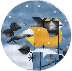 Charley Harper Needlepoint Goldfinch Ornament