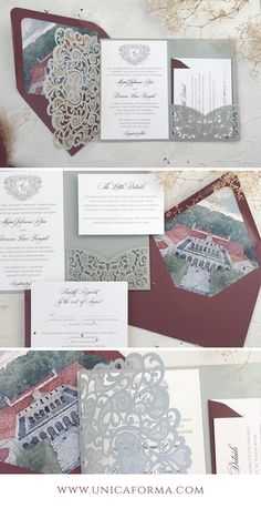 Unica Forma is located in Columbus, Ohio and offers a wide selection of beautiful, unique, personalized wedding invitations. Silver Wedding Invitations, Personalised Wedding Invitations, Wedding Invitation Design, Wedding Stationery, Invites, Diy Envelope, Envelope Liners, Burgundy Silver Wedding, Diy Wedding