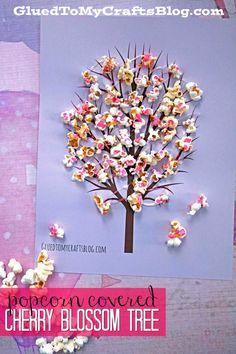 Cherry Blossom Popcorn Tree Kid Craft w/free printable template - Spring Themed Craft Tutorial - Kids Crafts - Pop Into Spring! Craft Cherry Blossom Popcorn Tree Kid Craft w/free printable template Spring Crafts For Kids, Crafts For Kids To Make, Kids Crafts, Art For Kids, Easy Crafts, Kids Craft Projects, Popcorn Crafts, Popcorn Tree, Cherry Blossom Tree