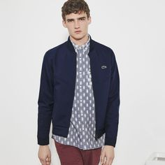 Lacoste L!ve Lightweight Bomber Jacket (1.551.215 IDR) ❤ liked on Polyvore featuring men's fashion, men's clothing, men's outerwear, men's jackets, lacoste live lacoste live and navy blue