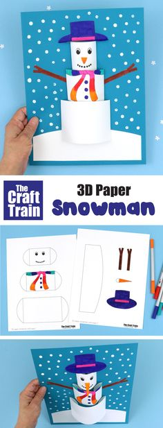 Make a fun 3D paper snowman craft using our printable template. This is a simple winter papercraft idea for kids. It would make a great bulletin board display and is fun practice for kids developing fine motor skills #kidscrafts #snowmancraft #snowman #printablecrafts #papercrafts #3Dcrafts #kidsactivities #thecrafttrain #wintercraftsforkids
