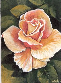 #ACEO TW JUL yellow #rose original #painting by MOTYL #Miniature