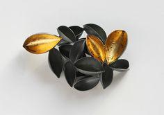 Fallen Gold, brooch, 2010, silver, patina, leaf gold, 60 mm. by Nikolai Balabin