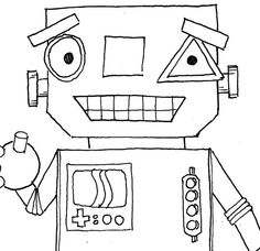 Cute smiling and Waving Robot Digistamp Digital stamp by artpixie,