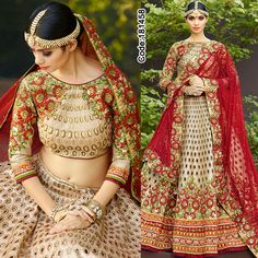 Start your bridal collection in style with this lovely #floral #lehengacholi in art silk! *Free Shipping Worldwide*  #FloralMotif #Volume #Layers #Embroidery #Designer #Brown #Occasion #IndianDresses #Partywears #Indian #Women #Bridalwear #Fashion #Fashionista #OnlineShopping #Pakistanisuits #Red #Beige #MirrorWork