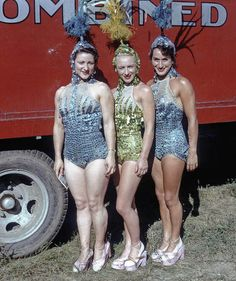 Ringling Barnum Circus. (Left to right) Gladys Rimmer, Margaret Smith, and Brenda Peters, English girls. Aerial ballet wardrobe.