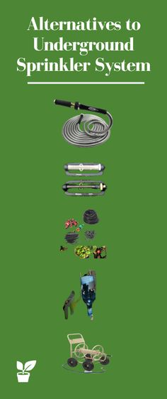 Alternatives to Underground Sprinkler Systems. This article compares manual and automated irrigation systems for watering your lawn and plants garden. Sprinkler Irrigation, Drip Irrigation, Irrigation Systems, Above Ground Sprinkler System, Decorative Rain Barrels, Garden Soil, Alternative, Sprinklers, Sprinkler