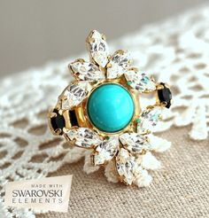 Hey, I found this really awesome Etsy listing at https://www.etsy.com/listing/203397234/turquoise-cocktail-gold-ring-turquoise