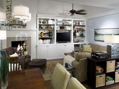 Custom cabinetry plays a key role in this Candice Olsen living room.