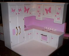 kitchen made for American Girl size doll furniture stove,refigerator,sink all in one kitchen  pink butterfly