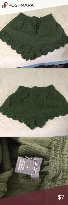 Aerie Drawstring Shorts Aerie Drawstring shorts. Olive colored. Size M. Never worn. Wrinkled from storage. aerie Shorts