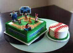 Baseball Mickey first birthday and smash cakes