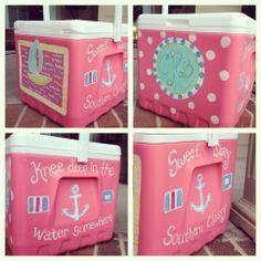 Sweet sassy painted cooler. jackiegodbold@gmail.com