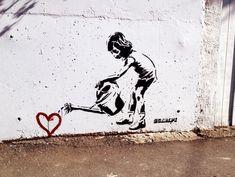 Niña riega corazón...Banksy