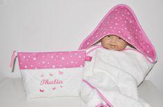 Box cadeau naissance:sortie/cape de bain+trousse de toilette assortie personnalisées brodées au prénom de bébé coffret : Puériculture par lbm-creation