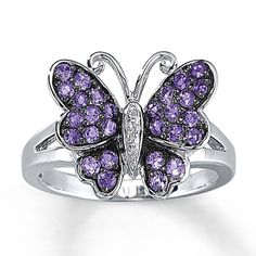 Amethyst Butterfly Ring With Diamond Accents Sterling Silver