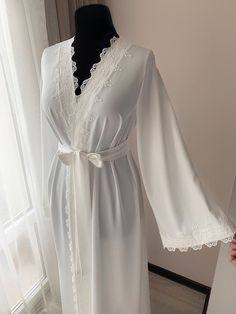 Long bridal robe with lace Ivory robe morning lingerie Lace Bridal Robe, Bridal Robes, Bridal Lingerie, Sleepwear Women, Pajamas Women, Color Ivory, Long Kimono, Gowns Online, Lace Sleeves