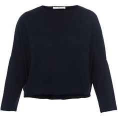 WHY CI Navy Merino Wool Sweater (265 BRL) ❤ liked on Polyvore featuring tops, sweaters, navy, blue cropped sweater, merino sweater, navy blue crop top, blue top and slim sweaters