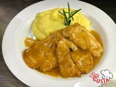 Scaloppine di pollo al limone con purè di patate