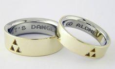 Matching Legend of Zelda Wedding Bands Geek Wedding, Cool Wedding Rings, Wedding Ring Bands, Trendy Wedding, Diy Wedding, Wedding Venues, Wedding Band Engraving, Ring Shots, Creative Wedding Ideas