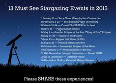 Must See Stargazing Events in 2013! Watch for Mercury in February...! OOOO more shiny things to look forward too!