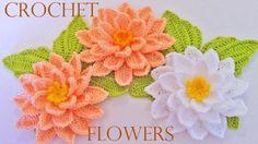 Como tejer flores fácil y rápido en una sola tira con hojas - How to mak...
