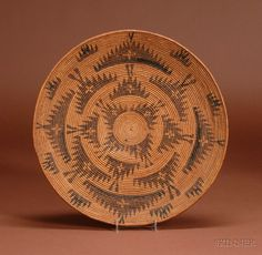 California Polychrome Coiled Basketry Tray | c. 1900