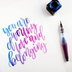 """4,315 Likes, 91 Comments - Melissa (Liss) Smith (@lissletters) on Instagram: """" (this is a medium Pentel aquash pen filled with pink Ecoline Liquid Watercolor and dipped in…"""""""