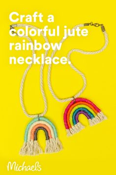 Be the talk of your friends and make this Jute-Wrapped Rainbow Necklace! Take this home décor trend piece and make a smaller version for a necklace! Rainbow Drawing, Rainbow Art, Rainbow Loom, Diy Jewelry, Cute Jewelry, Jewelry Making, Craft Supplies Online, Arts And Crafts Supplies, Beach Crafts For Kids
