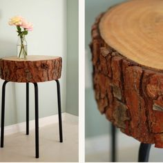 Mesita con un tronco y un taburete de Ikea - bedside table with a trunk and an Ikea stool DIY (hva) Tree Stump Coffee Table, Stump Table, Trunk Table, Table Legs, Coffee Tables, Upcycled Furniture, Diy Furniture, Ikea Stool, Ikea Table
