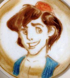 Aladdin latte art→follow← my board ♡ͦ* ¢σffєє σвѕєѕѕє∂ ♡ͦ* @ ★☆Danielle ✶ Beasy☆★
