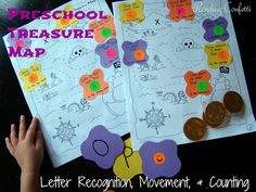 A fun way to practice letter recognition! Reading Confetti: Preschool Treasure Maps